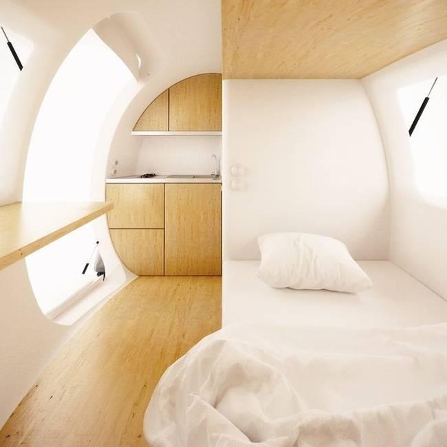ecocapsule portable low energy tiny home interior design