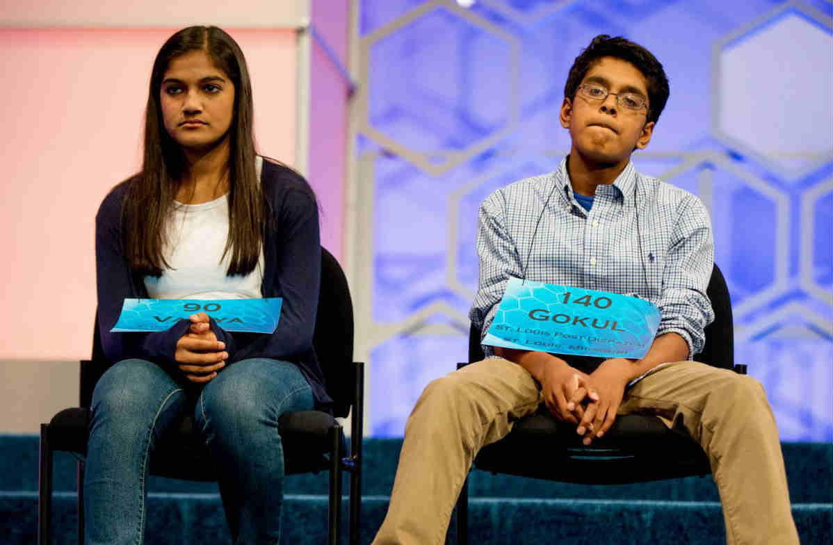 Vanya Shivashankar and Gokul Venkatachalam are co-champions of National spelling bee championship 2015
