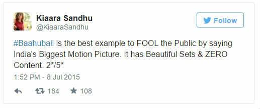 Kiaara Sandhu twitted about Bahuballi-2