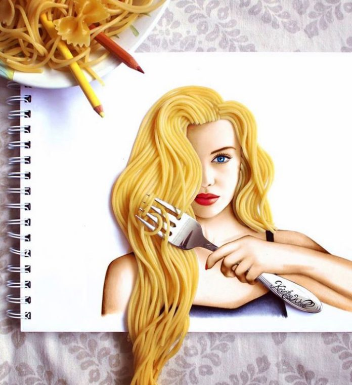 awesome 3D design by noodles and color pencils