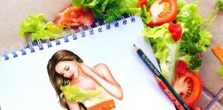 beautiful girl 3d painting of vegitables