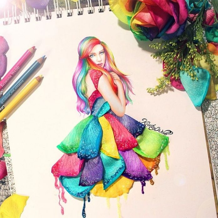 colorful dress painted by krista web
