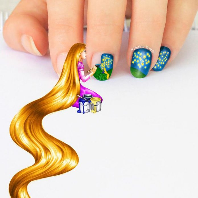 girl painting nail 3D design images