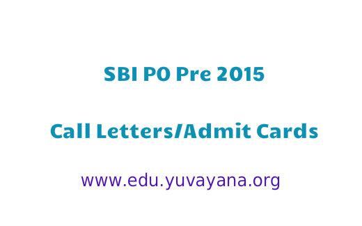 SBI PO Pre 2015 Admit cards